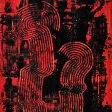 Figurenpaar in Rot, 80 x 60 cm