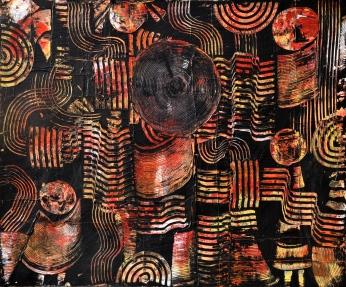 Figurensammlung rot, 120 x 100 cm