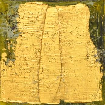 Goldrelief mit Säule, 40 x 40 cm