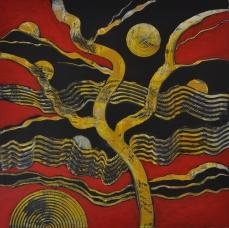 Rote Landschaft 1, 100 x 100 cm