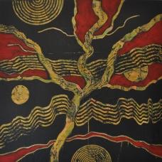 Rote Landschaft 2, 100 x 100 cm