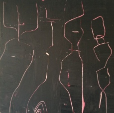 Woman with men, 100 x 100 cm
